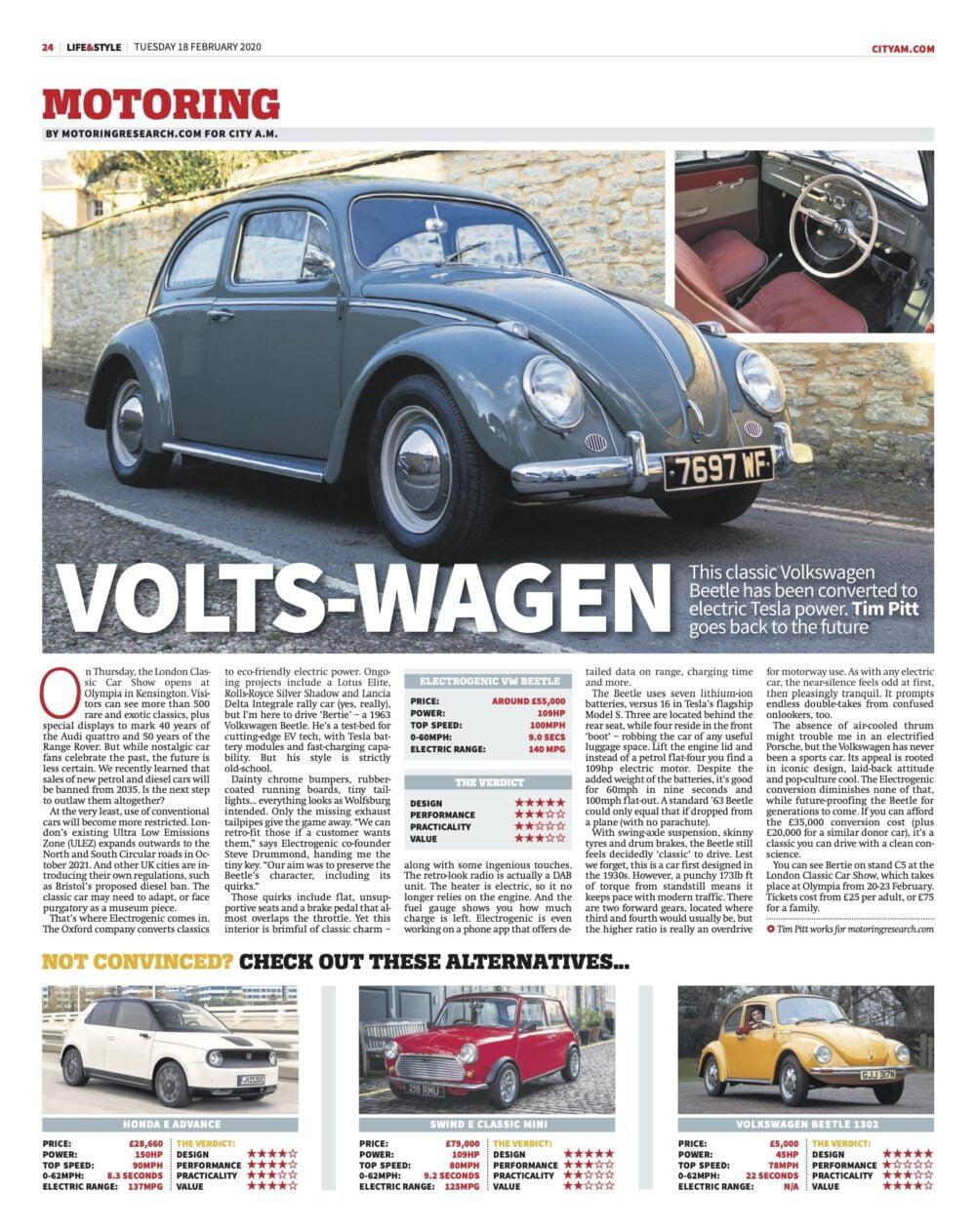 Electrogenic electric VW Beetle article