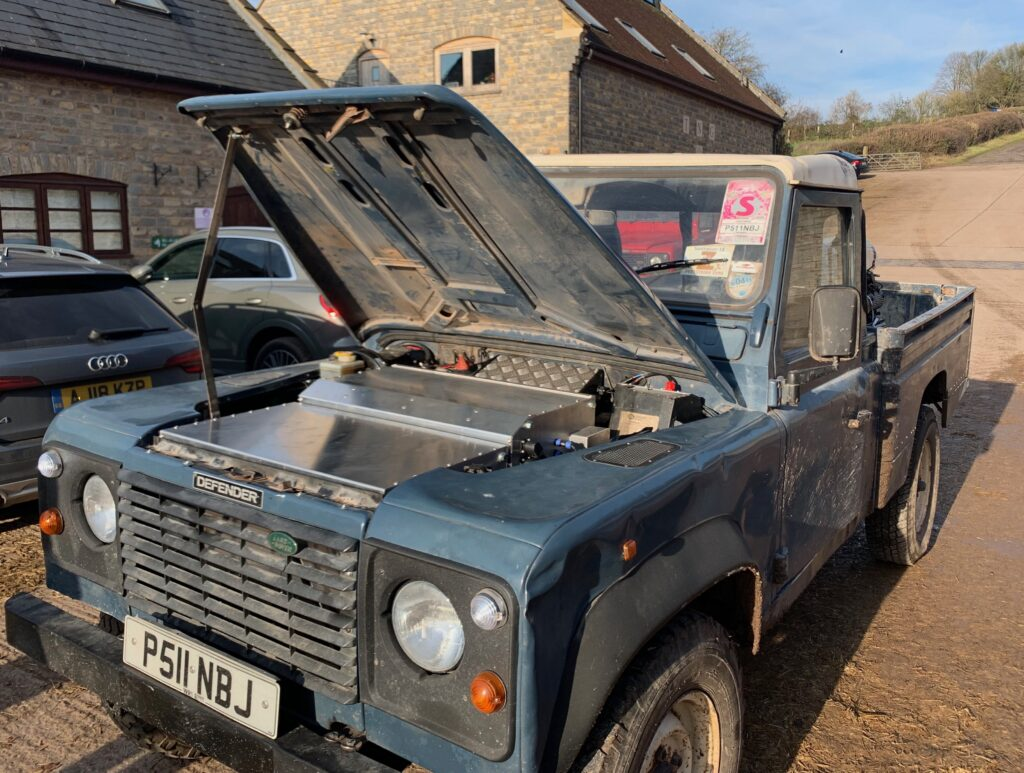 electric Land Rover at Worthy Farm